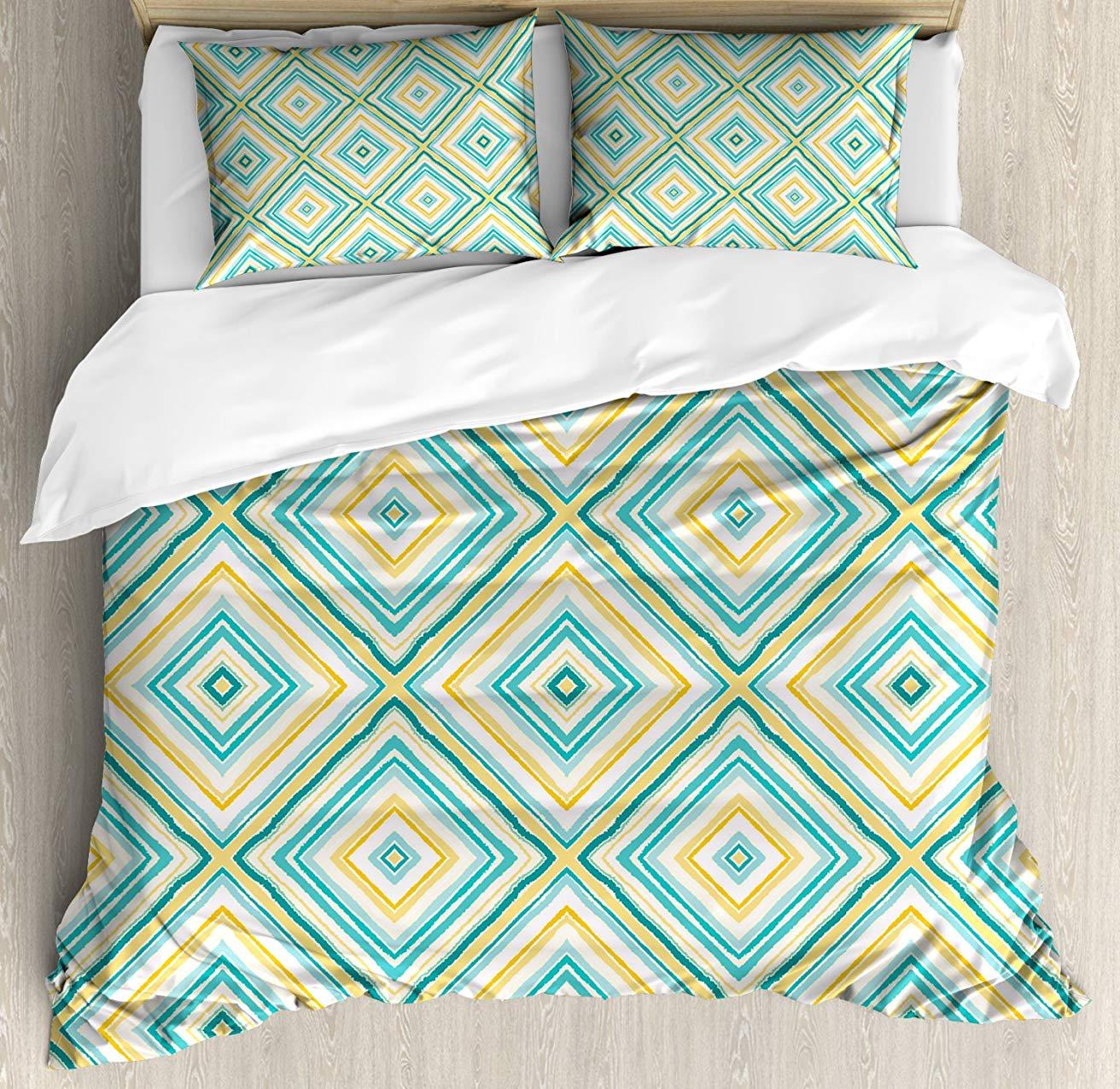 Aqua набор пододеяльников, квадратные ромбовидные линии с рваным бумажным эффектом в свежих весенних цветах, декоративный Комплект постельного белья из 3 предметов