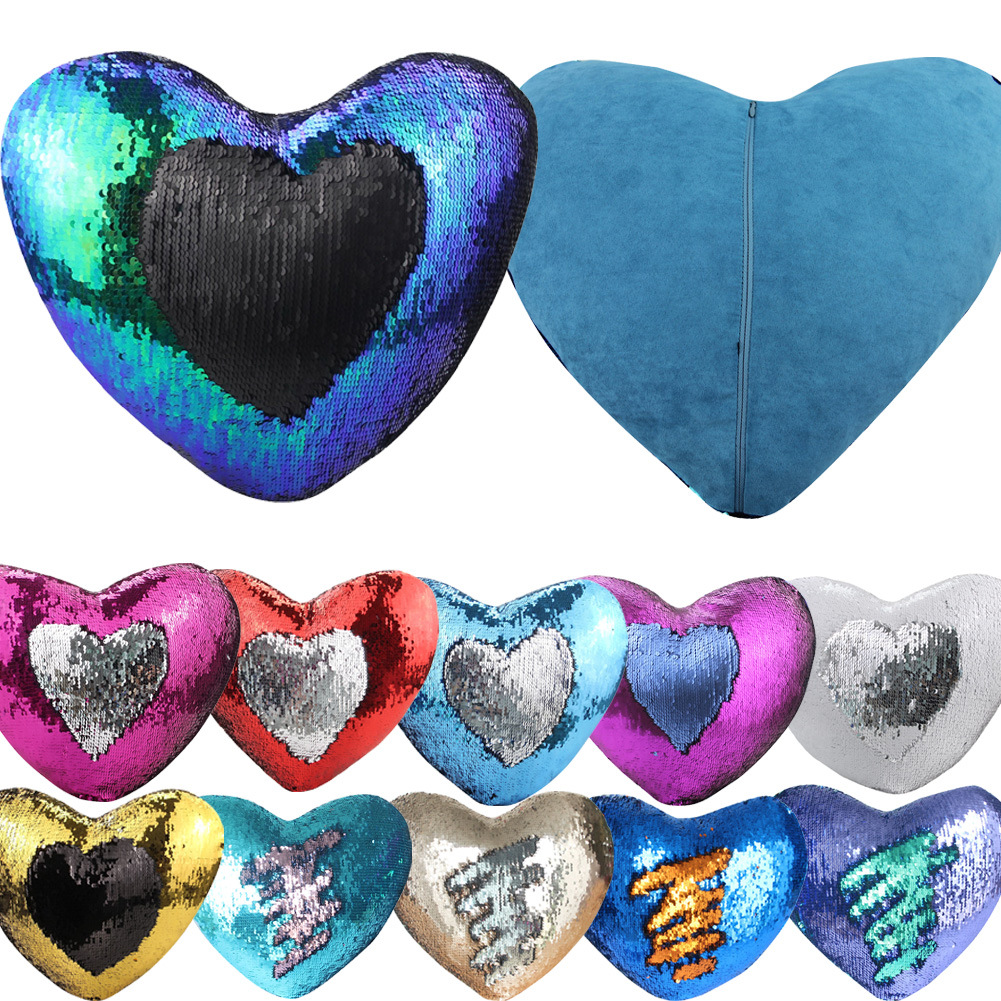 2017 Cute Diy Changing Face Heart Shaped Decorative Pillows Sequin