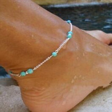 1Pcs Unique Nice Turquoise Beads Silver Chain Anklet souvenir Ankle Bracelet Foot Jewelry Fast Free Shipping New Hot Selling