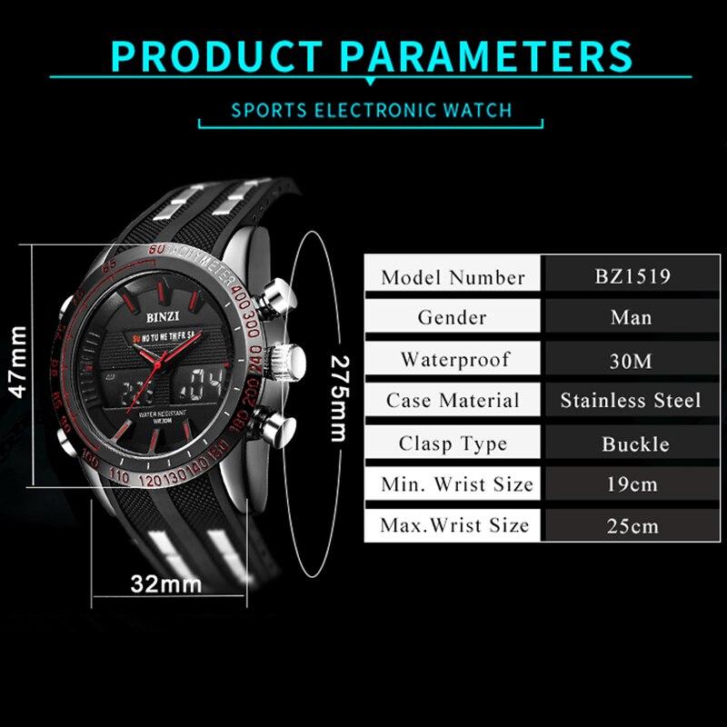 BINZI Watch Men Watches Outdoor Sport Military Quartz relogio masculino Waterproof Male Clock 2018 Black Dual Display Watch xfcs in Quartz Watches from Watches