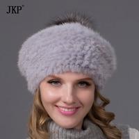 Ms Hot Winter Fur Hat With Silver Fox POM POM Top New Fashion Mink Fur Beret