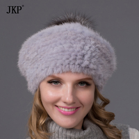 Ms Hot Winter Fur Hat With Silver Fox POM POM Top New Fashion Mink Fur Beret