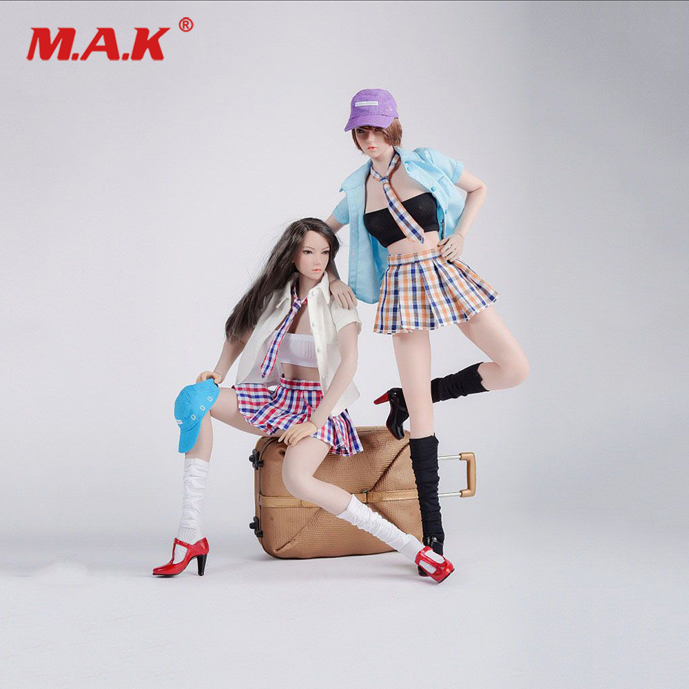 DIY FG041 1/6 Scale Sexy Pleated Skirt School Uniform Student Dress Suit & Shoes for 12'' Phicen Jiaoudoll Verycool Figure