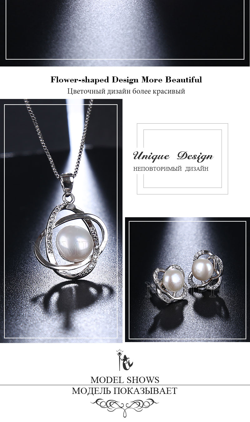 HTB1ZGayj4TI8KJjSspiq6zM4FXaT NYMPH Pearl Jewelry Sets Natural FreshWater Pearl Necklace Pendant Earrings Fine Trendy Wedding Party Gift Women RoseT202-H