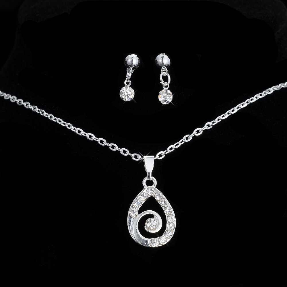 Fashion Jewelry Sets water drop Necklace Pendant Drop Earring Crystal Silver Jewelry Sets For Women wedding party gift