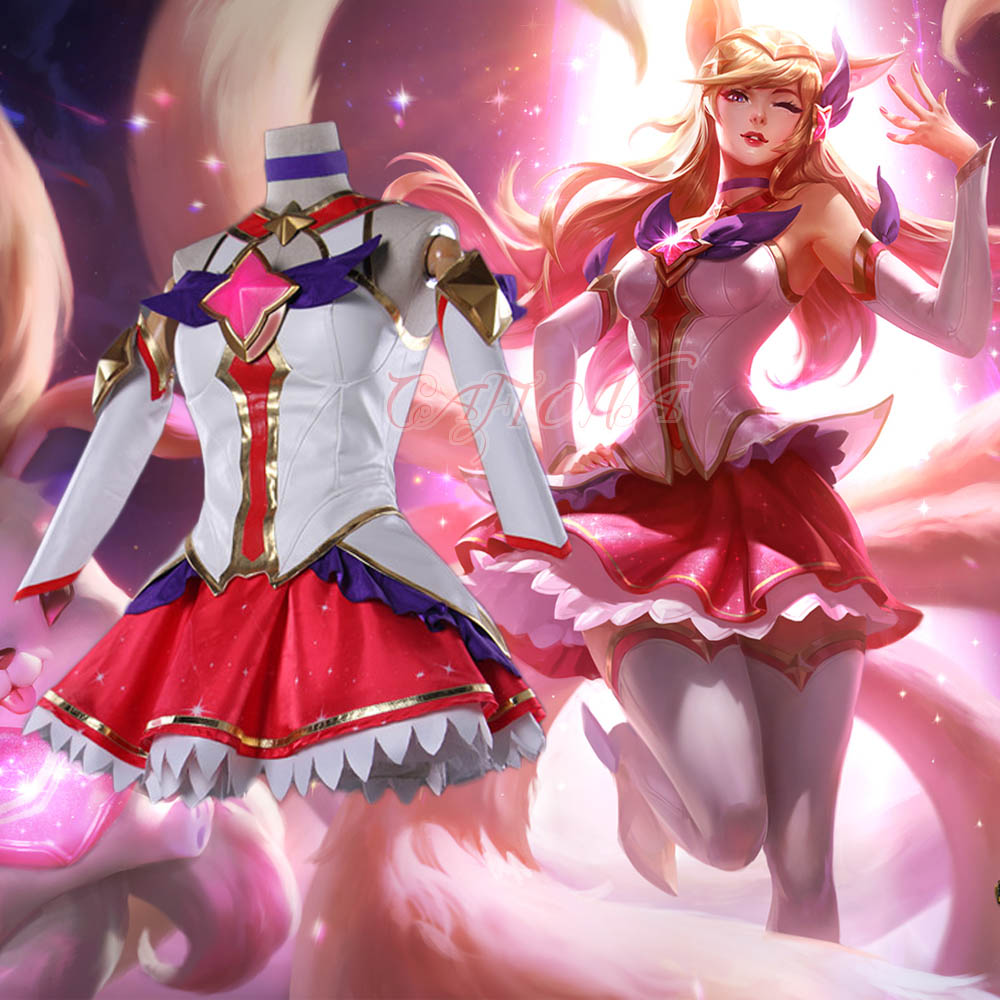 Cafiona Hot Game LOL The Nine-Tailed Fox Ahri Magical Girls Cosplay Costume Shinny Skirt Full Set