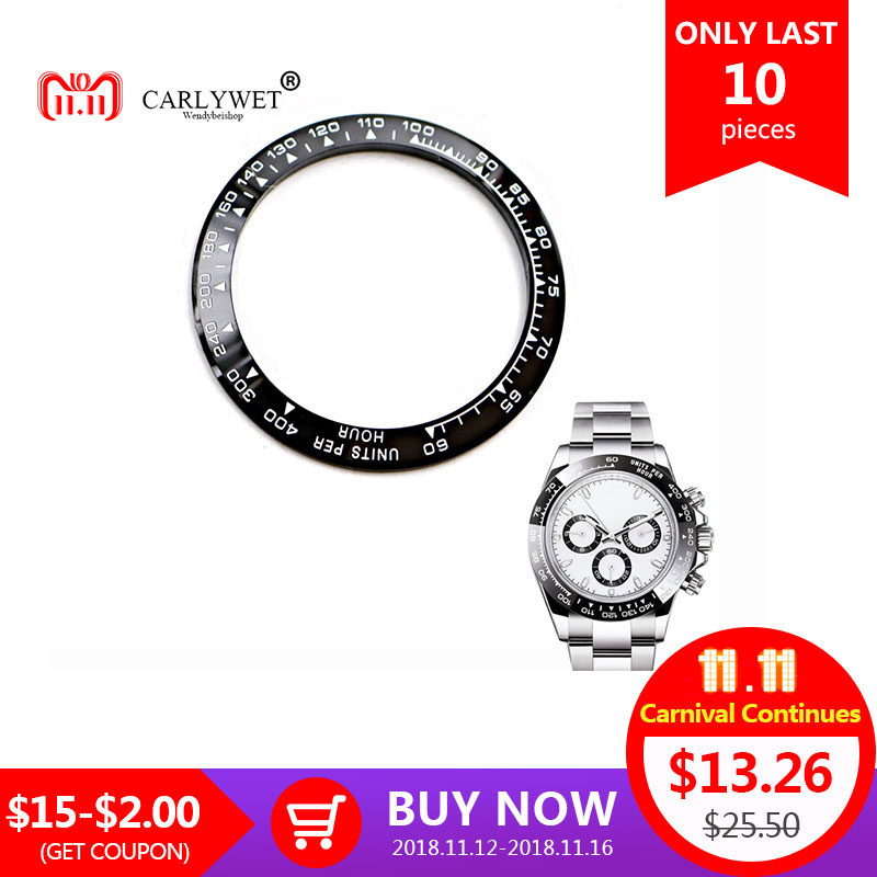 CARLYWET Wholesale High Quality Ceramic Black with White Writing 38.6mm Watch Bezel for DAYTONA 116500 - 116520
