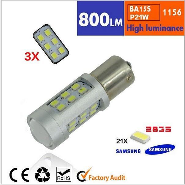 2pcs/lot Super Bright White High Power 21W Samsung LED 3528-SMD 1156 LED Bulbs For Brake, DRL, Turn Signal, Backup Lights Lamps