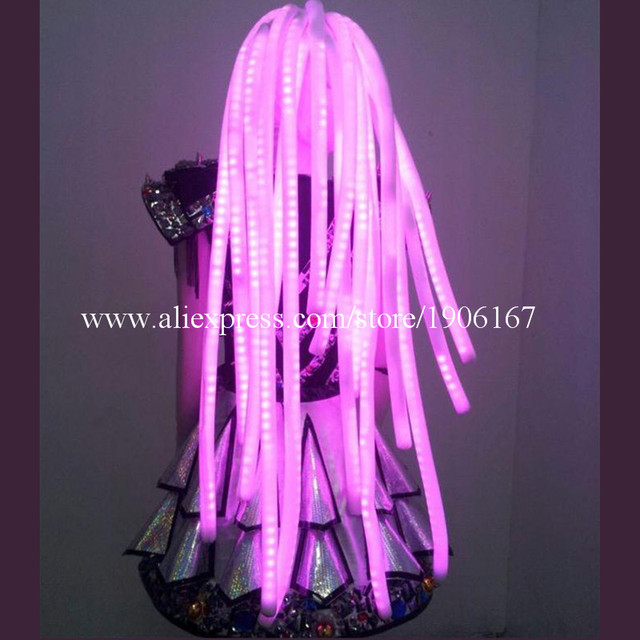 Hot Sale LED Light Up Colorful Hair Luminous Cosplay Party Wigs Halloween Christmas Headwear For Dancing Bar DJ Club