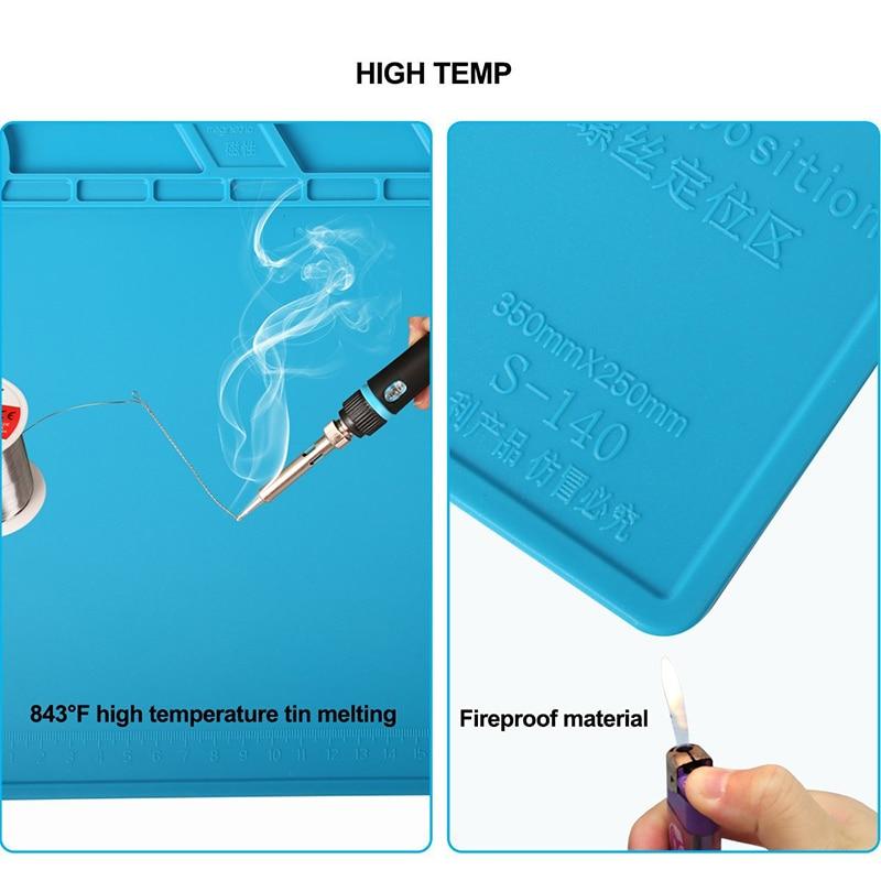 35x25cm Heat Insulation Silicone Pad Electrical Heat Gun Soldering Repair Station Maintenance Platform with Screw Location Mat