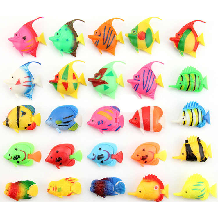Lifelike Plastic Artificial Moving Floating Fishes Ornament Decorations for Aquarium Fish Tank (Random Color & Pattern)