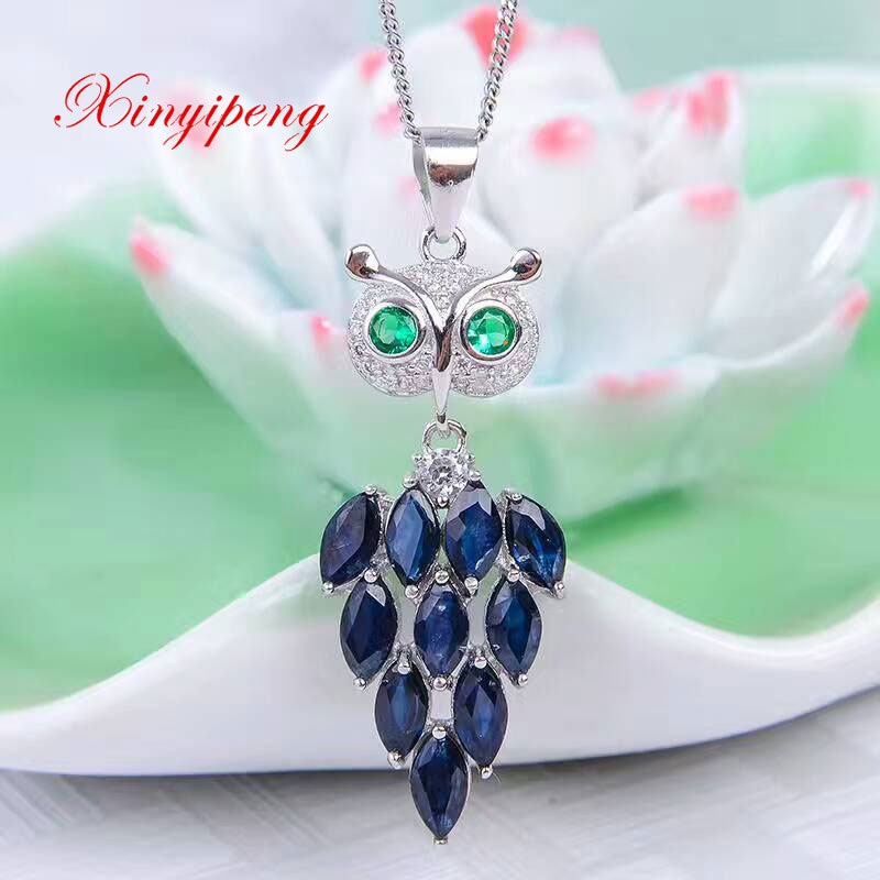 Xinyipeng ms 925 silver inlaid natural sapphire necklace pendant fine jewelry fashion wedding holiday gifts denim emporio armani denim