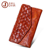 JOYIR 2017 Tanned skin graft hand woven wallet restoring ancient ways Men's leisure fashion long silver bag leather wallet 2018