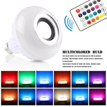 E27 Wireless Bluetooth Speaker 12W RGB Bulb LED Lamp 110V 220V Smart Led Light Music Player Audio with Remote Control(China)