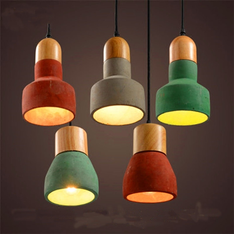 Loft Industrial Modern Wooden Candy Colorful Industry Restaurant Lamp Bar Cafe Solid Wood Cement Pendant Light Lamp LightingLoft Industrial Modern Wooden Candy Colorful Industry Restaurant Lamp Bar Cafe Solid Wood Cement Pendant Light Lamp Lighting