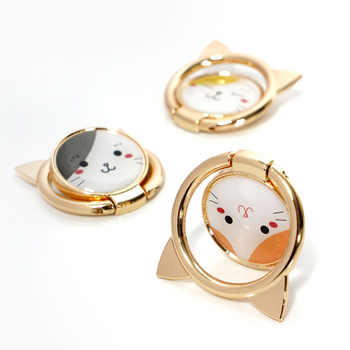 10 pcs Cat Finger Ring Mobile Phone Holder for iPhone XS Max X SE 8 7 plus Cartoon Stand for Samsung S8 Xiaomi Mi 8 White Orange