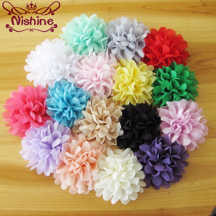 "Nishine 10pcs/lot 4"" Soft Chiffon Flowers Flatback Flet Flower For Apparel Hair Accessories Fabric Flowers For Diy Headbands"