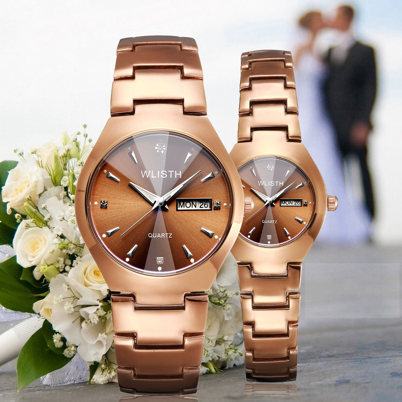 WLISTH Couple Watch Women Men Luxury Crystal Quartz