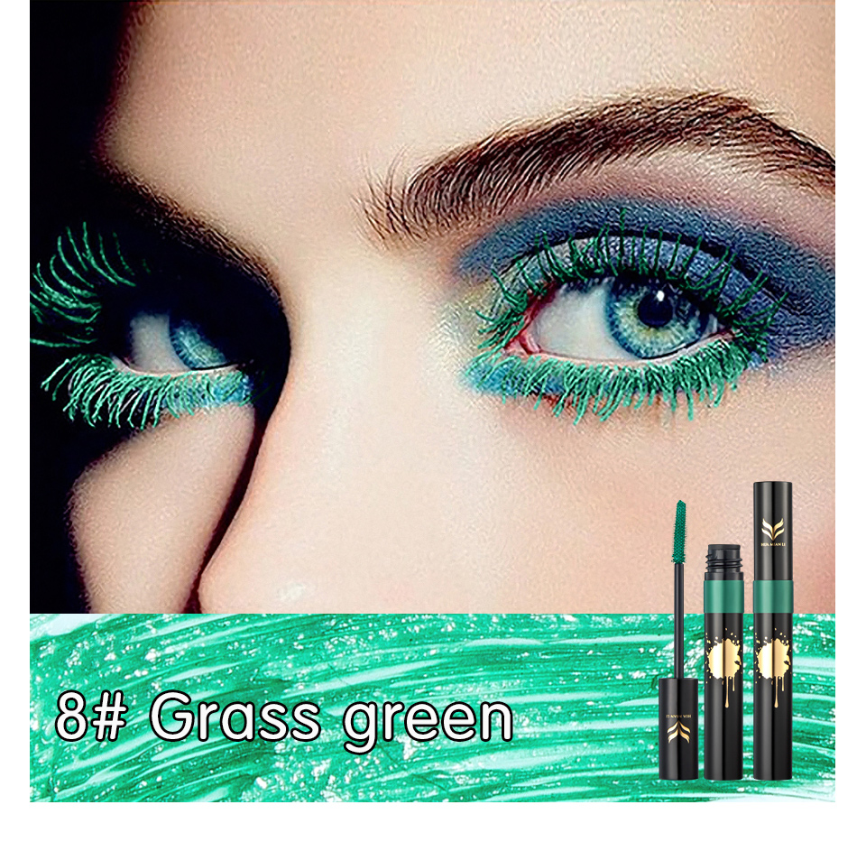 HUAMIANLI Colorful Green Blue Mascara Waterproof Lengthening Curling Eye Lashes Silicone Women Professional Makeup 3D Mascara 14