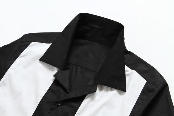 2019 새로운 짧은 소매 단추 collared 검은 색 빨간색 - 남성 의류 - 사진 5