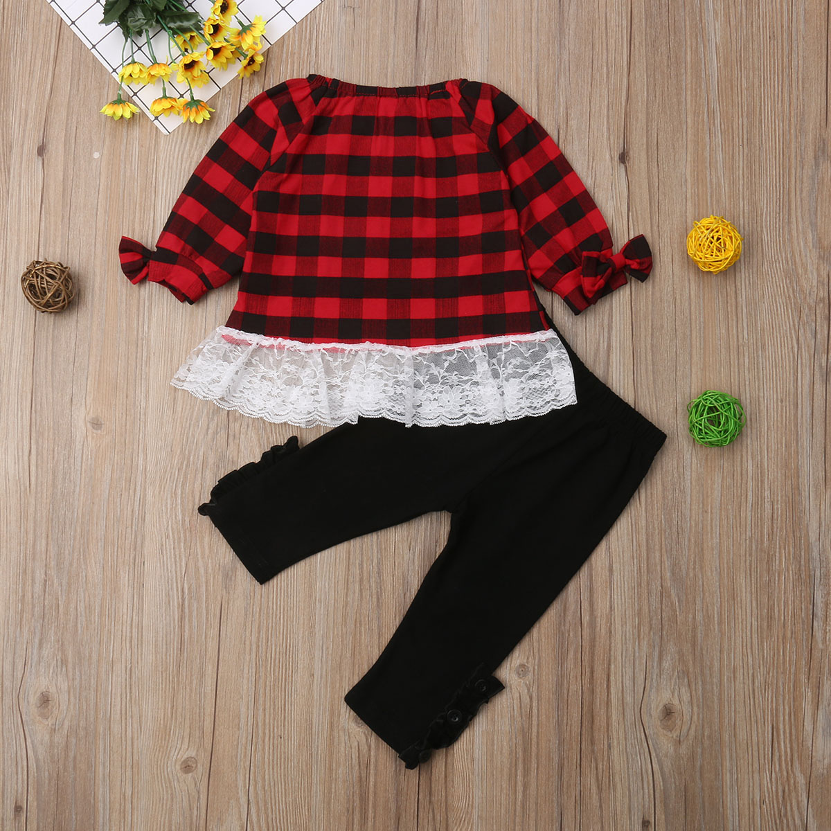Christmas Toddler Kids Baby Girls Plaids Lace Patchwork Tops Long Sleeve T shirt Pants Outfits Clothes Set 2019 in Clothing Sets from Mother Kids