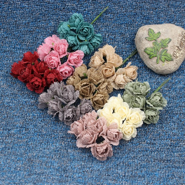 6pcs Flax Rose Bouquet Flowers For Wedding Scrapbooking Garland Home
