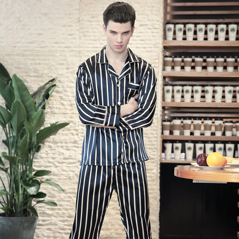 New Summer Men Soft Cozy Pajamas 2018 Mens Long Sleeve Stripes Loose Leisure 2 Piece Pajama Male Faux Silk Home Clothing TZ597 ...