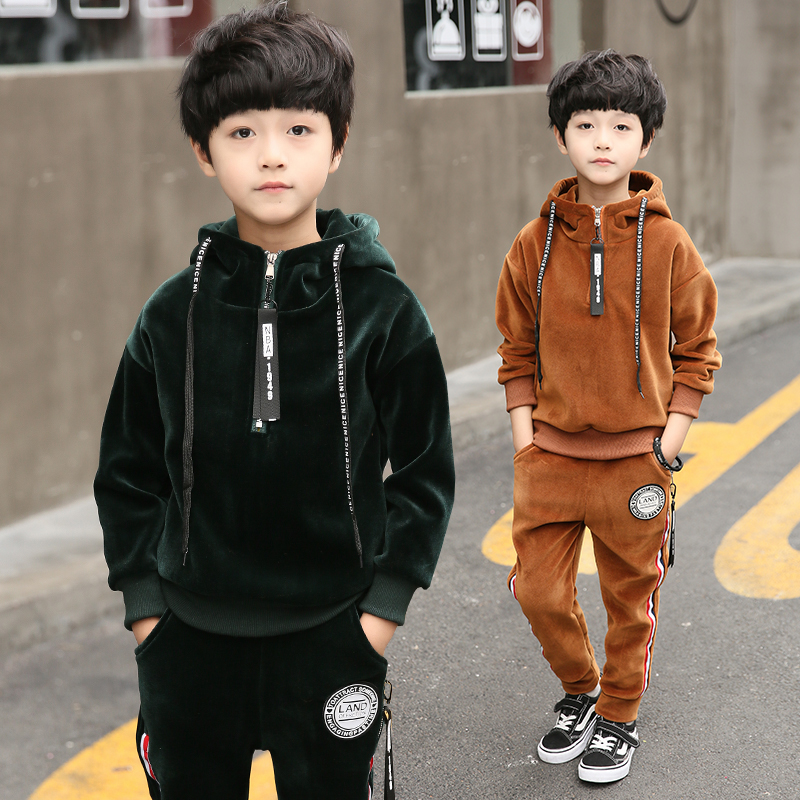 FYH Kids Clothes Boys Winter Thicken Sports Suit Gold Velvet Boys Girls Set School Children Warm Clothing Set Sweatshirt+Pants fyh boys long sleeve sports set school boys casual printed suit hooded sweatshirt pants kids autumn clothes children tracksuit