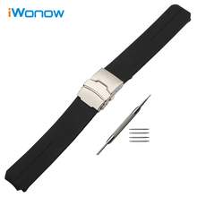 20mm 21mm Rubber Watchband + Tool for T013420A T047420A T33 Silicone Watch Band Steel Safety Buckle Bracelet Wrist Strap Black