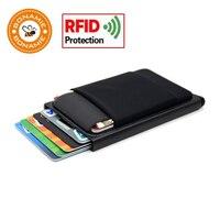 BONAMIE Aluminium Portemonnee Met Elasticiteit Terug Pouch ID Credit Kaarthouder RFID Mini Slim Wallet Automatische Pop up Bankkaart case