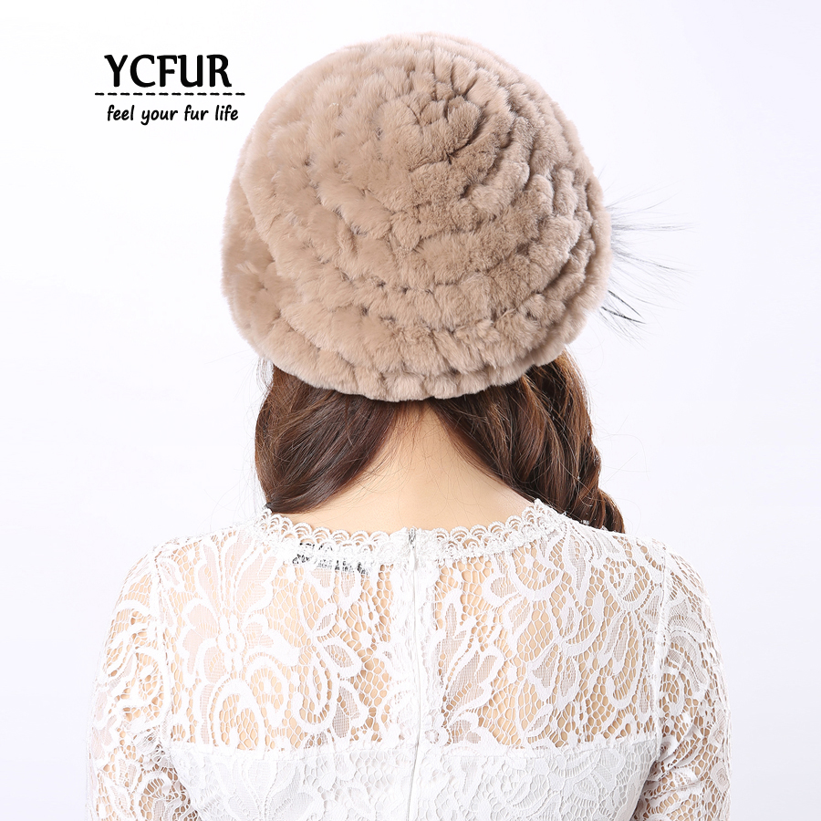 YCFUR Ženske Kape Kape Zimske Pletene Real Rex Zajčji Krzneni - Oblačilni dodatki - Fotografija 4