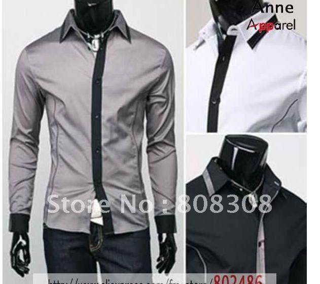 NEW Men's Slim Luxury Stylish gray Dress Shirts,fashionable long-sleeved Shirts FOR MEN,ST45