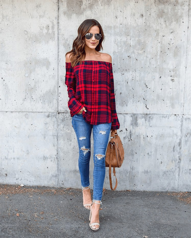 Autumn Casual Plaid Off Shoulder Women Blouse Shirts Button Long Sleeve Shirts Tops Casual Blouse