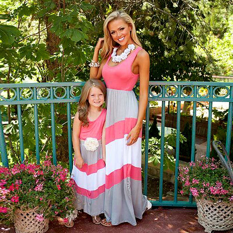 adsfay.com Mommy-and-me-family-matching-mother-daughter-dresses-clothes-striped-mom-and-daughter-dress-kids
