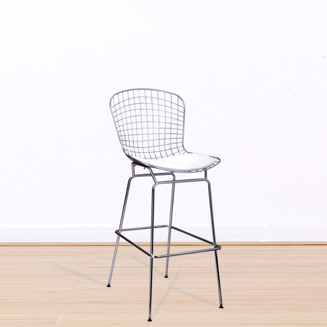 Bar Stool Metal Iron Wire Counter Bar Chair Chromed Steel Shell And PU  Cushion Minimalist Modern