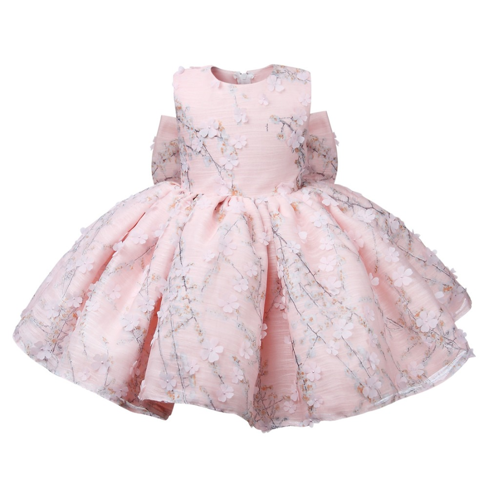 Flower Toddler Baby Girl Infant Princess Dress Baby Girl Wedding Dress Pink Lace Tutu Kids Party