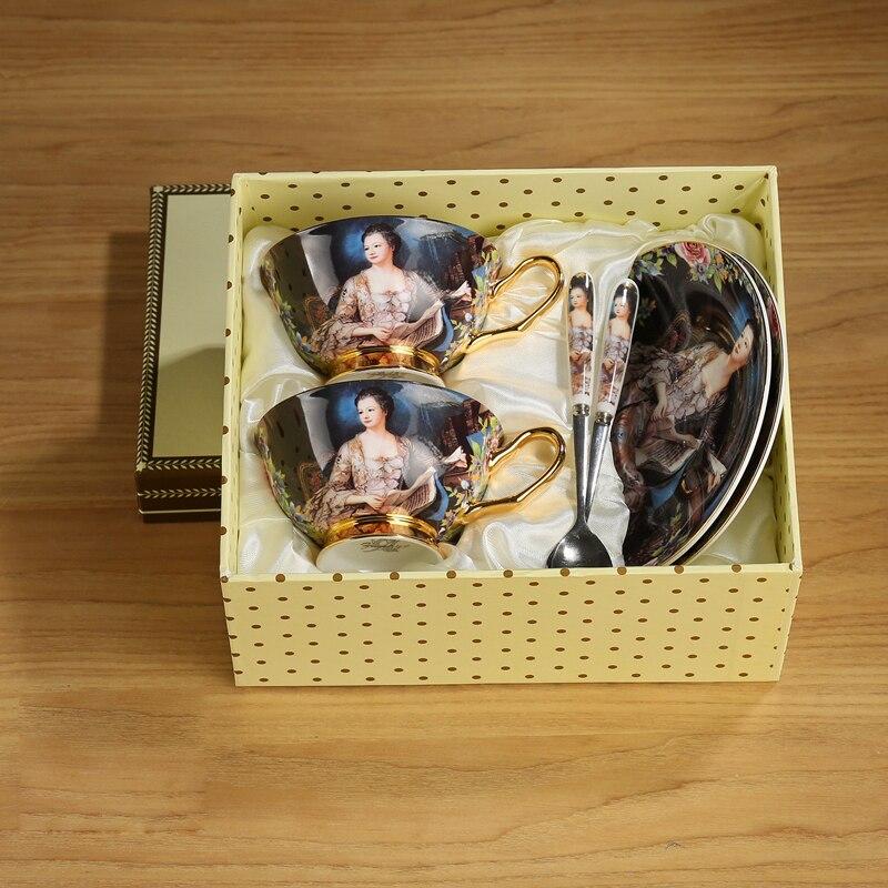 Высококачественный Британский винтажный набор кофейных чашек из костяного фарфора, креативная фарфоровая чайная чашка, послеобеденный ча...