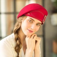 Elegant Female 100% Wool Flower Black Fedora Hat England Style Vintage Winter Women Felt French Beret Hats Bone Feminino M71