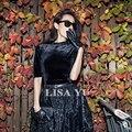 Estiramento forte! outono de veludo camiseta mulheres magras encabeça o Pescoço meia manga feminino camiseta preta do vintage tee femme camisetas mujer