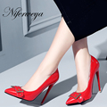 Spring/Autumn 12 cm thin heel pumps Sexy Pointed Toe red women wedding shoes buckle decoration big size 34-47 Slip-On high heels
