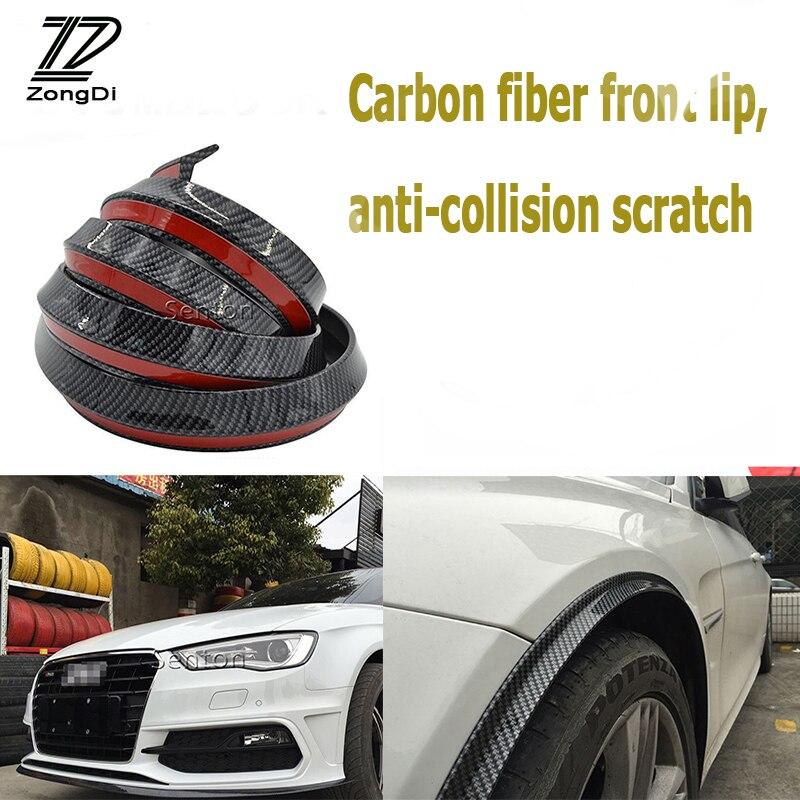ZD Car Carbon Fiber Bumper Lip Tail Protection Spoilers For VW Passat B5 B6 Polo Golf 4 5 6 7 Chevrolet Cruze Lada Granta RAM