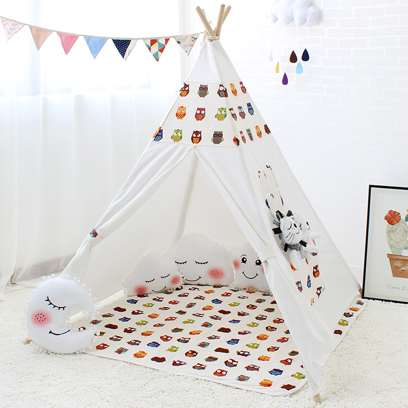 Four Poles Indian Play <font><b>Tent</b></font> Cartoon Owl Children Teepees Kids Tipi <font><b>Tent</b></font> Cotton Canvas Teepee White Play House for Baby Room