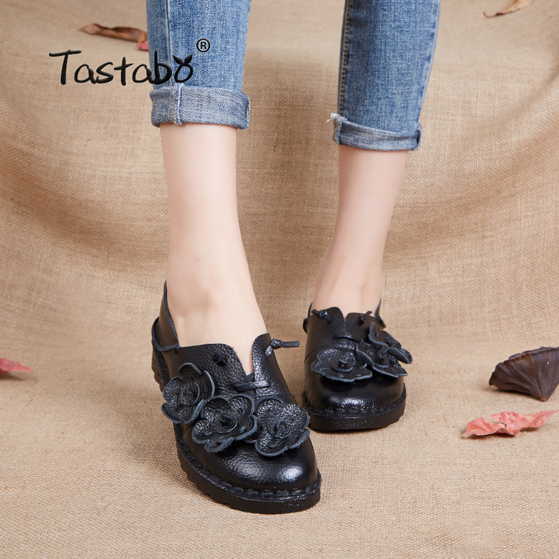 Tastabo Genuine Leather Flat Shoe New Arrival Work Driving Shoes Women Flats Comfortable Dotted flowers Hand