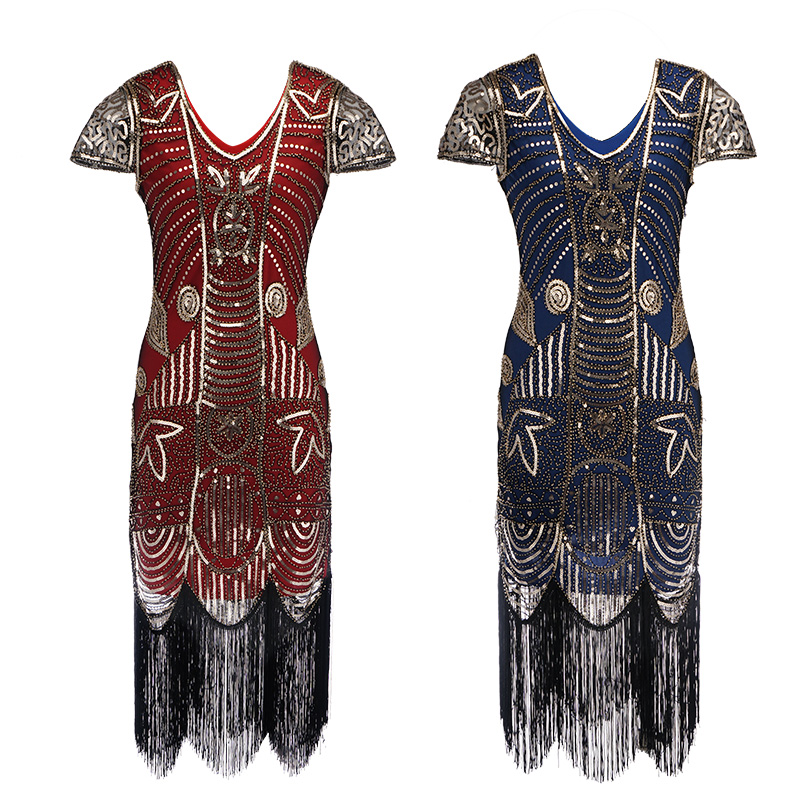 Women's 1920s o Neck Beaded Fringed Gatsby Theme Flapper Dress Prom Beaded Dresses Great Gatsby evening cocktail dress