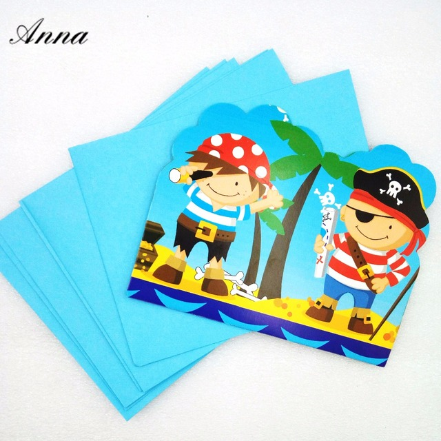 6pcslot Pirate Cartoon Party Supplies Invitation Cards Birthday