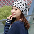 2016 beanie hats for women New Knit Baggy casual cotton gorro with Star Female Warm Winter solid Bonnet Head Cap multicolor