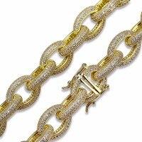 18 мм Роскошные Полный CZ камень проложили Майами кубинский цепочки и ожерелья 24 Gold Filled Coper для мужчин Bling Iced Out хип хоп рэппер цепи ювелирные