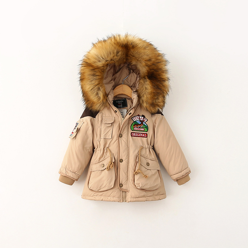 ФОТО Fashion children's clothing male female child Winter plus velvet thickening Hooded Overcoat children cotton-padded jacket
