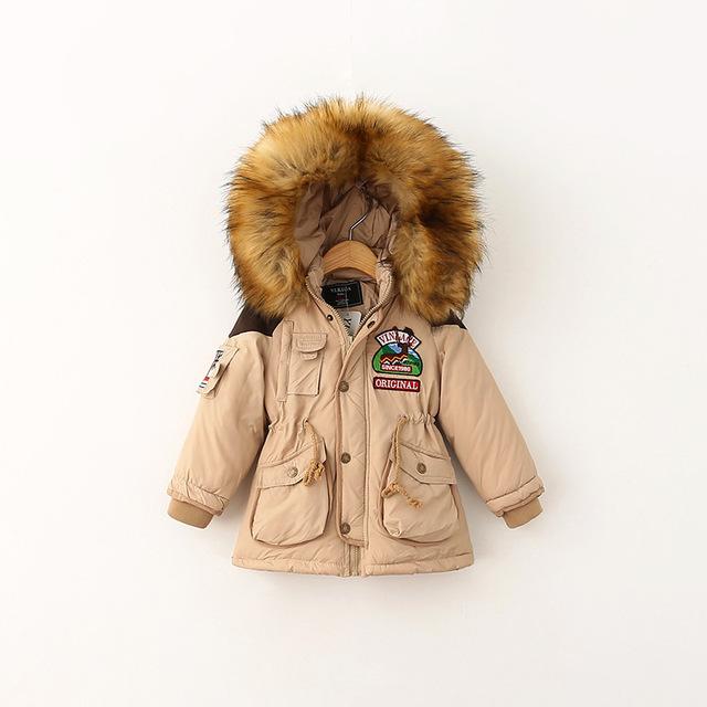 Moda ropa de los niños masculinos de Invierno niña, además de terciopelo Con Capucha engrosamiento Abrigo chaqueta de algodón acolchado niños