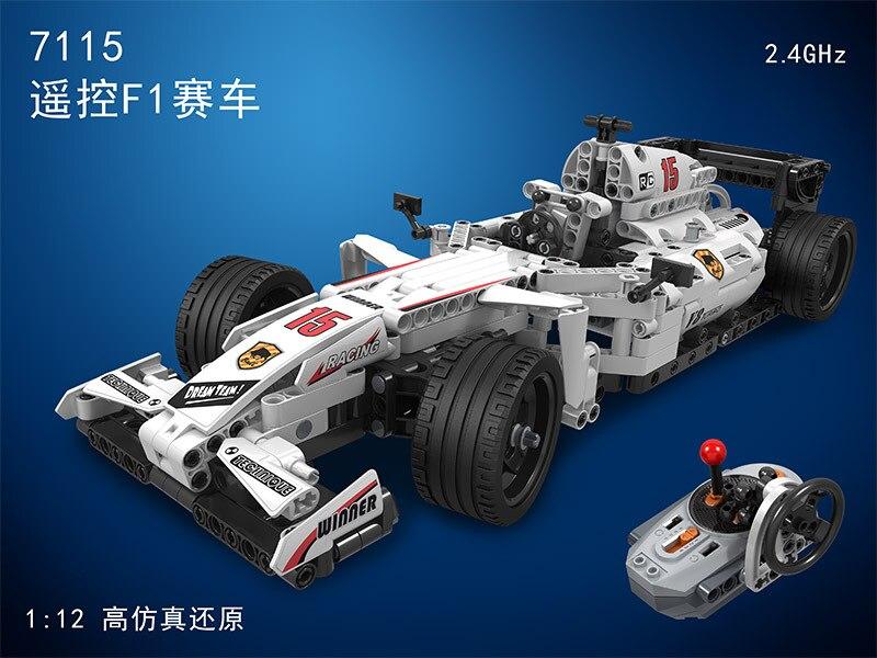 MOC F1 wyścigi samochodowe pilot zdalnego sterowania 2.4GHz Technic z silnikiem Box klocki kompatybilne klocki lego klocki zabawki dla dzieci w Klocki od Zabawki i hobby na  Grupa 2